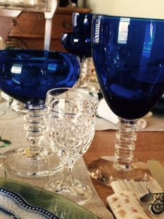 """4 Cups of Wine: Four glasses of wine are poured during the Seder to symbolize the 4 main stages of Exodus that led Hebrew slaves to the promise land of freedom. These stages were: """"I will bring out."""" """"I will deliver."""" """"I will redeem."""" """"I will take.""""  Drank at different stages of the Seder, the fourth one seals the Seder festivities. The small, vintage, crystal glasses were a gift from my precious son."""