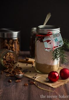 Chocolate Chip Pecan Banana Bread Gift Jars: Everything you love about banana bread layered in a mason jar to give as gifts for the holidays.