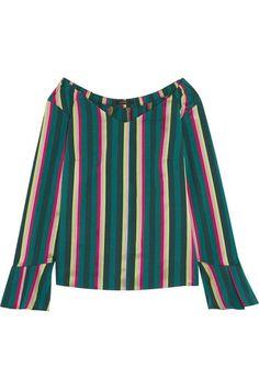 Etro - Striped Cotton-blend Poplin Top - Green - IT46