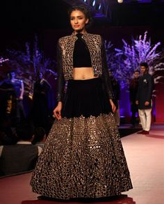 Dark blue velvet lehenga..beautiful mirror work✨