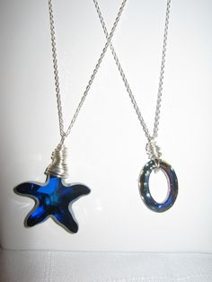 Swarovski Crystal Starfish and Eternity Oval on Sterling Silver Chain