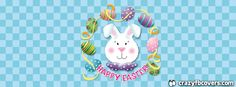 Cute Checkered Happy Easter Facebook Cover - Facebook Timeline Cover Photo - Fb Cover