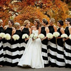 Striped bridesmaid dresses, modern black and white wedding theme Striped Bridesmaid Dresses, Black Bridesmaids, Bridesmaid Dress Styles, Wedding Bridesmaids, Wedding Dresses, Party Dresses, Black And White Wedding Theme, Striped Wedding, Wedding Themes
