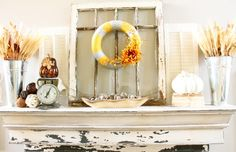 Fall decor on fire mantle