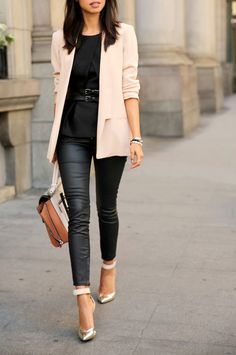 Blush Blazer & Black Jeans