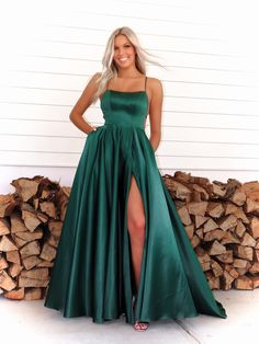 This simple and elegant A-line dress will definitely make heads turn as you walk through the door! And it's at Rsvp Prom and Pageant, your source for the HOTTEST Prom and Pageant Dresses and exclusive evening gowns and located in Atlanta, Georgia! Stunning Prom Dresses, Pretty Prom Dresses, Prom Dresses For Teens, Prom Outfits, A Line Prom Dresses, Grad Dresses, Pageant Dresses, Green Prom Dresses, Different Prom Dresses
