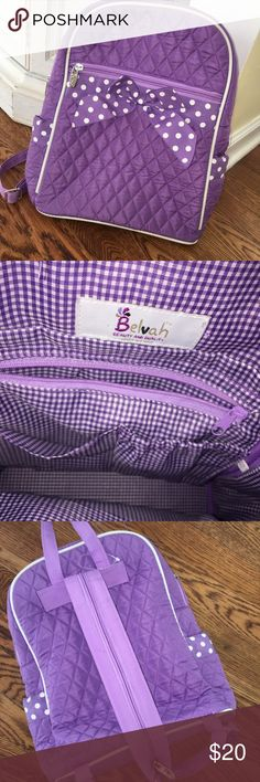 """""""BELVAH"""" Purple Polka Dot Child 🎒/ Diaper Bag Front Zipper Pocket(s) Metal Feet on the Bottom Monogrammable Open & Zippered Pockets Inside Zipper Closure Gingham Lining Two Side Open Pockets Ribbon Accent Convertible & Adjustable Shoulder Strap This lightweight backpack has a simplistic design that is fairly stylish. Materials : Microfiber Length/Height/Width : 12.0"""" / 15.0"""" / 5.5""""  - PERFECT FOR SPRING!! Belvah Accessories Bags"""