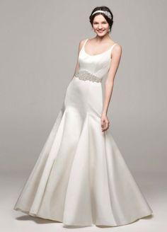 Satin Trumpet Wedding Dress with Button Back  MB3652