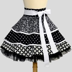 Waist Half Apron : Ruffled Half apron in Spiral Black and White Mini... ❤ liked on Polyvore