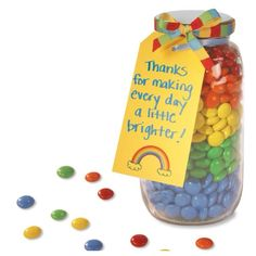Perhaps with a smaller mason jar, this could be a cute thank you gift--the M  M's are the dots, and you could  add polka dot fabric on the top.  Write whatever message you want.