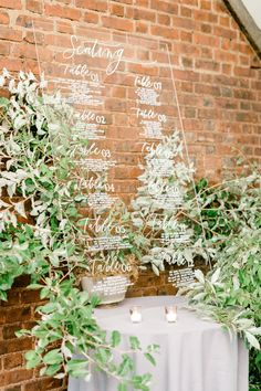 Modern romantic seating chart idea with acrylic sign and lush greenery. Sophisticated Wedding, Timeless Wedding, Lily Wedding, Wedding Signs, Watercolor Wedding, Floral Watercolor, Letterpress Wedding Invitations, Invites, Neutral Wedding Colors