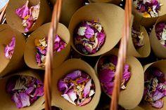 Home made wedding confetti - dryed rose petals