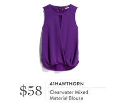 Stitch Fix-41Hawthorne Clearwater Mixed Material Blouse, purple Super cute