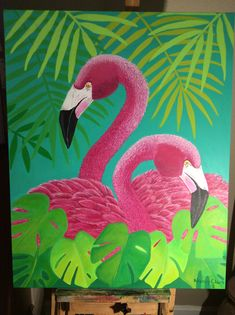 Pink Flamingos painted in acrylic paint. by Nancy Cox Clark. Birds Painting, Colorful Art, Tropical Painting, Flamingo Painting, Animal Art Projects, Bird Artwork, Flowery Wallpaper, Animal Paintings, Canvas Painting