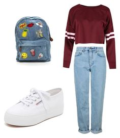 80s college by abigailphoenix on Polyvore featuring moda, Topshop and Superga