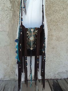 Handmade Brown Suede Leather Boho Cross Body Bag Hippie Purse Fringe tmyers #Handmade #MessengerCrossBody