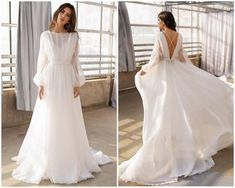 Boho wedding gown, long sleeves wedding dress, organza bridal gown with train skirt, bohemian wedding Organza Bridal, Wedding Dress Organza, Top Wedding Dresses, Wedding Dress Sleeves, Bridal Dresses, Boho Wedding Gown, Ivory Wedding, Dream Wedding, Bohemian Gown