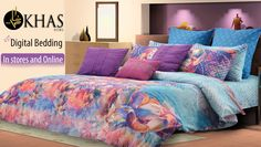 Turn your bedroom into the perfect picture of your imagination . KHAS introduces customized digital bedding first time in Pakistan. The epitome of the spirit of spring .. this bedding depicts lotus flower clusters in full bloom on a diffused blue sky .Completed with a mix of colorful decorative cushions to further accentuate its happy tones. Product: Lotus Bloom - Multi Color Shop Online:https://goo.gl/xy162h
