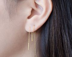 Silver Chain Earrings Sterling Silver Threader by lunaijewelry