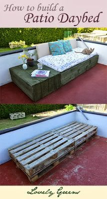 For a portion against a wall in the courtyard once expanded.  Lovely Greens | The Beauty of Country Living: Pallet Project: Patio Day Bed
