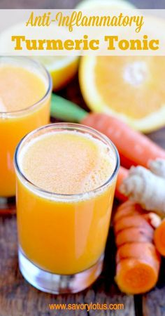 Anti-Inflammatory Turmeric Tonic: 2 cups coconut water (or filtered water), 2 tbsp grated fresh turmeric- about a 2 inch piece (or 1/2 to 1 tsp dried turmeric powder), 1 tbsp grated fresh ginger – about a 1 inch piece, juice from 1 lemon or orange, 1 medium carrot, 1 tbsp raw honey or real maple syrup, pinch of black pepper, Optional: a pinch of cayenne or cinnamon. blend until smooth, strain, and drink