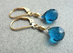 Simple Peacock Quartz teardrop Earrings by SueanneShirzay on Etsy, $28.00
