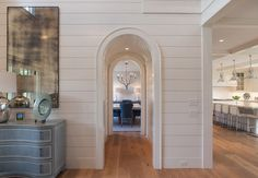 "Nantucket Home with New Coastal Interiors - ""Between Shiplap & Barrel Ceiling"" Arch Doorway, Shiplap, Home, Coastal Interiors, Ship Lap Walls, White Paneling, Luxury Interior Design, Nantucket Home, Nantucket Style Homes"
