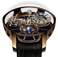 """La marca de modas con sede en Nueva York, Jacob & Co., presentó la verdaderamente única obra maestra, """"Astronomia Tourbillon Baguette"""", un innovador #reloj que eleva el arte de la relojería por encima de la Tierra y del tiempo."""