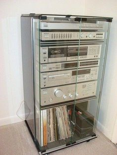 """1970s STEREO SYSTEM UNIT [technology]... Today 1 small device:  """"Return to the 70s. This is what we had. Our kids have tiny iPods instead. Never could have imagined that!""""   https://www.facebook.com/photo.php?fbid=217939491728582&set=a.120918128097386.1073741829.117624465093419&type=1"""