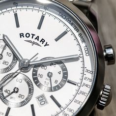 Perfect for recording time with great accuracy the quartz Cambridge Chronograph is the ideal watch for the sophisticated sportsman. Rotary's chronograph has an independent sweep second hand: can be started, stopped, and returned to zero, featuring a tachymeter inner dial for rapid calculations of acceleration or distance. Sport Watches, Rotary, Cambridge, Chronograph, Distance, Zero, Quartz, Sports, Hs Sports