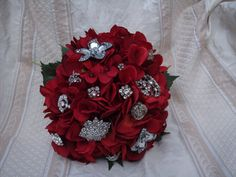 red bridal bouquet with rhinestone brooches by ImpatientCajun, $150.00