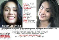 Tianna Munoz, 15, missing since 12/27/2012 from Joliet, IL.