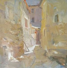 'Village streetview', south of France 2017 - oil on canvas 50 x 50 cm (hxw)