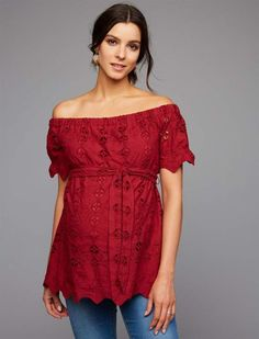 A Pea In The Pod Embroidery Maternity Top. #ad