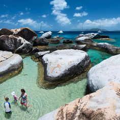 The Baths Virgin Gorda, British Virgin Islands Nobody knows how this garden of perfectly smooth granite boulders ended up on the shores of Virgin Gorda. They back up against palm-filled mountains, lending the place its mystical-pirate-hideaway, there's-definitely-buried-treasure-here-somewhere vibe.