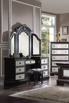 3 pc cherry brown finish wood make up bedroom vanity set with curved legs stool and tri fold mirror with multiple drawers this set comes with the u2026