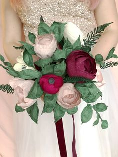 A paper flower bridal bouquet in dark and moody tones of burgundy, blush, plum and creams, with paper greenery and velvet ribbon. Perfect for a wedding with deep rich colours. Paper Flowers Wedding, Floral Wedding, Wedding Paper, Paper Peonies, Alternative Bouquet, Paper Bouquet, Bridesmaid Bouquet, Bride Bouquets, Wedding Flower Inspiration