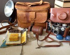 VTG cuero bolso de la cámara / / cámara Argus C3 & funda de piel / / instantánea colección