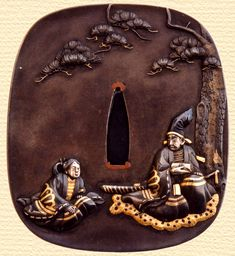 Kusunoki father, Masashige informs his son of his surely-coming death. - Motte Chichi Mitsuoki Han-Cho Mitsuhiro Ho Sen. (Shibuichi ground with multiple alloys inlaid.)  http://www.sho-shin.com/erber.html