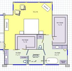 His & Her Master Bathroom Floor Plan! LOVE IT!