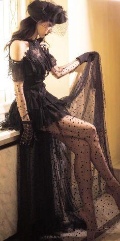 Dark Romance: 24 Gothic Wedding Dresses ❤ gothic wedding dresses with sleeves halter neckline black malyarovaolga ❤ Dark Romance, Masquerade Dresses, Masquerade Ball, Black Wedding Dresses, Black Weddings, Dress Wedding, Gothic Outfits, Gothic Gowns, Alternative Outfits