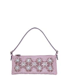Valentino - Pink Leather Pochette with Floral Embroidery Valentino Garavani, Miss Priss, Pink Leather, Floral Embroidery, Spring Summer, Shoulder Bag, Purses, Clutches