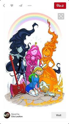 Adventure Time- Fanart ( Finn, Princess Bubblegum, Marcelline, Fire Princess) Gender Bent