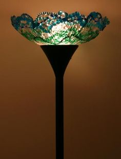 Blue/Green Melted Bead Lampshade - HOME SWEET HOME