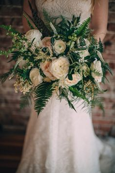 Lorin and Trevor wanted to bring the outdoors inside and so we played with lots of ferns an… Fern Bouquet, Flower Boquet, Fern Flower, Fern Wedding, Wedding Flowers, Dream Wedding, Wedding Flower Arrangements, Wedding Bouquets, Flower Decorations