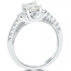 1.71 Carat H-SI1 Certified Radiant Cut Diamond Engagement Ring 14k White Gold