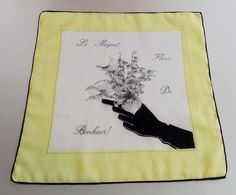 Vintage 1950s Muguet Fleur du Bonheur French Novelty Cotton Hankie Handkerchief – Lily of the Valley Good Luck Flower    Rare and unusual French