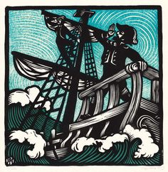 """Sir Patrick Spens"" from Anais Mitchell and Jefferson Hamer's Child Ballads record cover. A nautical linocut print by Peter Nevins.  #linocut #woodcut #printmaking"