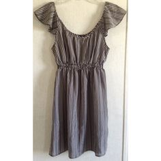 I Love H81 Striped Chiffon Dress Excellent condition! Super cute I Love H81 (Forever 21) dress. Gray and white striped pattern. Mostly sheer fabric, needs something underneath. Scooped neck and back. Flowy cap sleeves. Elastic around the waist. Size medium. Forever 21 Dresses Mini