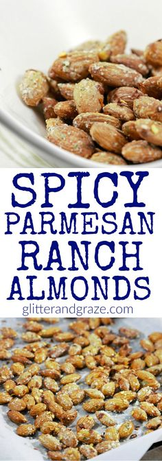 These spicy ranch Parmesan almonds are such a tasty treat you can put together for the perfect snack. Almonds are one of my favorite snacks. And better yet they are healthy for you. Seasoned Almonds Recipe, Flavored Almonds Recipe, Spicy Nuts, Spicy Almonds, Candied Almonds, Nut Recipes, Almond Recipes, Yummy Recipes, Salads